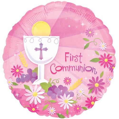 "18"" Foil Balloon- First Communion Pink"