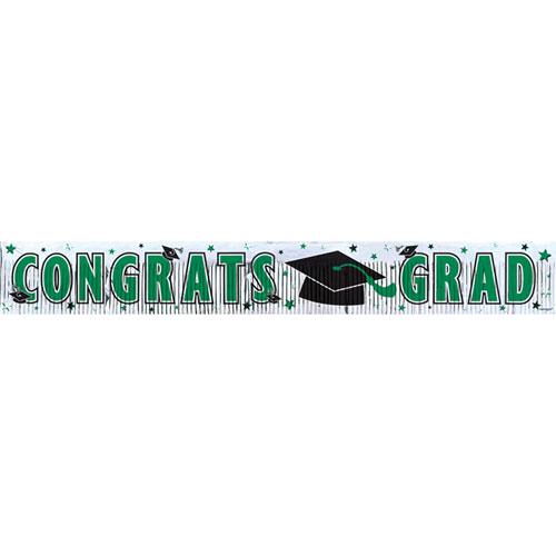 5' Congrats Grad Banner- Green