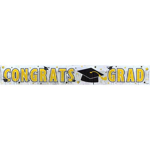 5' Congrats Grad Banner- Yellow