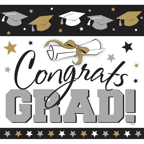 Congrats Grad Black/Gold/Silver Cutout