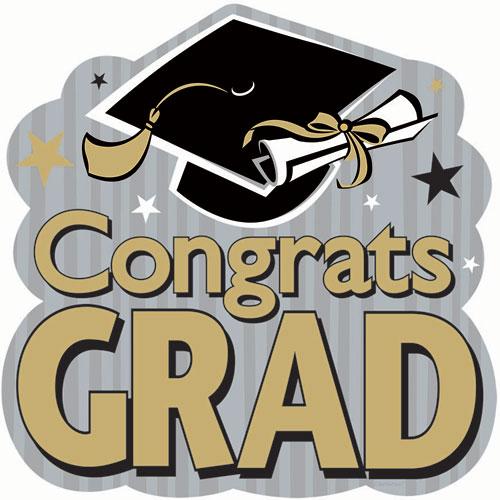 Congrats Grad Black/Gold/Silver Cutouts