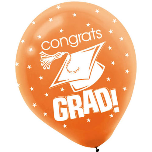 "Congrats Grad Orange 12"" Balloons"