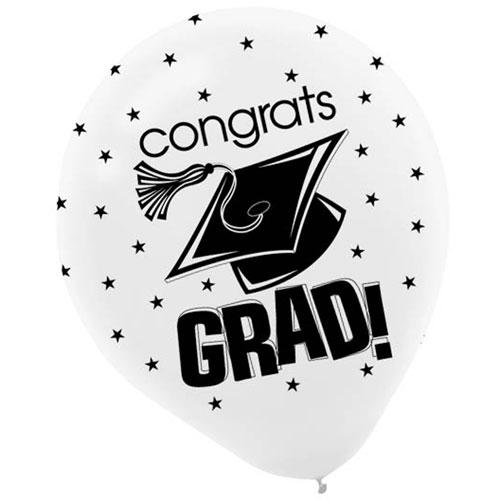 """Congrats Grad White 12"""" Balloons"""