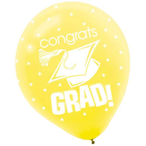 """Congrats Grad Yellow 12"""" Balloons"""