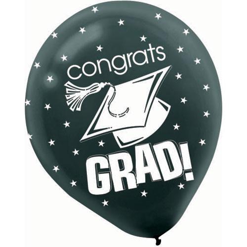 """Congrats Grad Black 12"""" Balloons"""