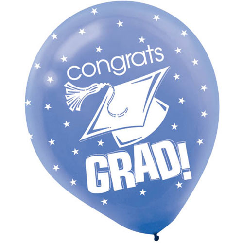 "Congrats Grad Blue 12"" Balloons"
