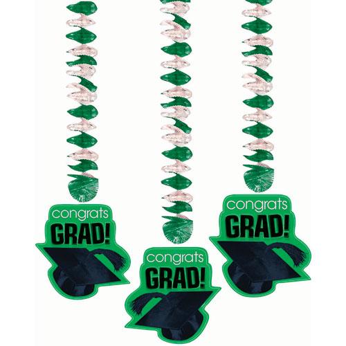 Congrats Grad Green Dangling Cutouts