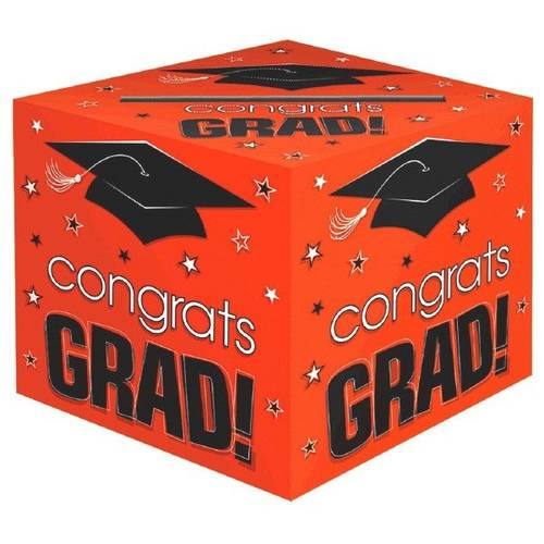 Congrats Grad Orange Card Boxe