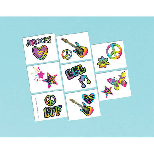 Neon Birthday Tattoos (16ct)