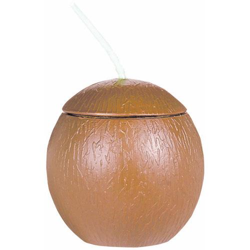 Plastic Coconut Cup w/Straw