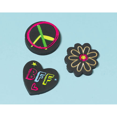 Neon Birthday Erasers