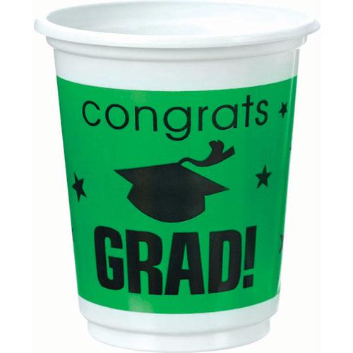 Congrats Grad Green Plastic 12 oz Cups