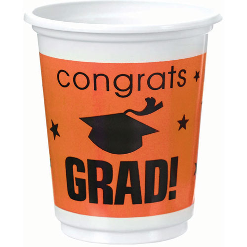 Congrats Grad Orange Plastic 12 oz Cups
