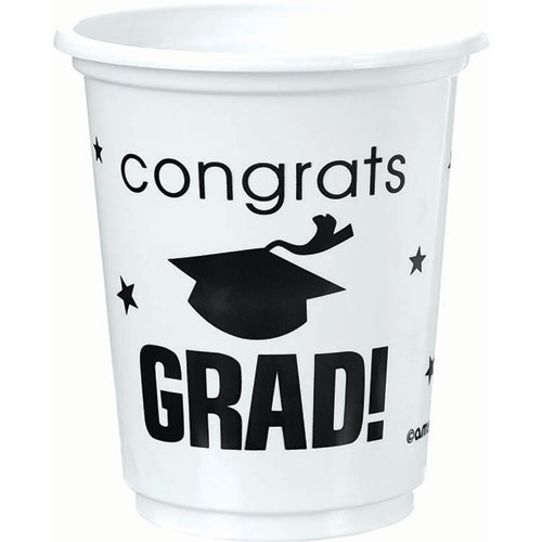 Congrats Grad White Plastic 12 oz Cups
