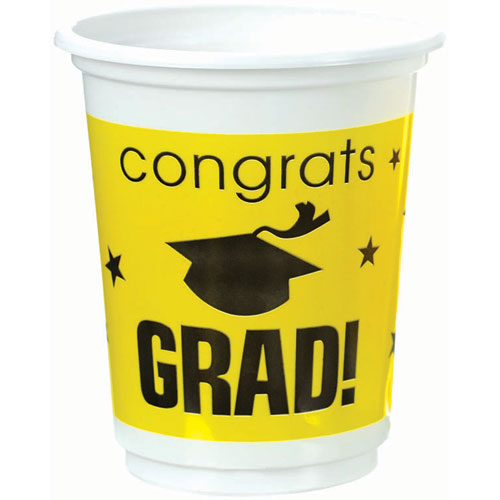 Congrats Grad Yellow Plastic 12 oz Cups