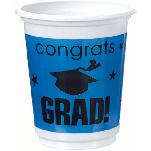 Congrats Grad Royal Blue Plastic 12 oz Cups