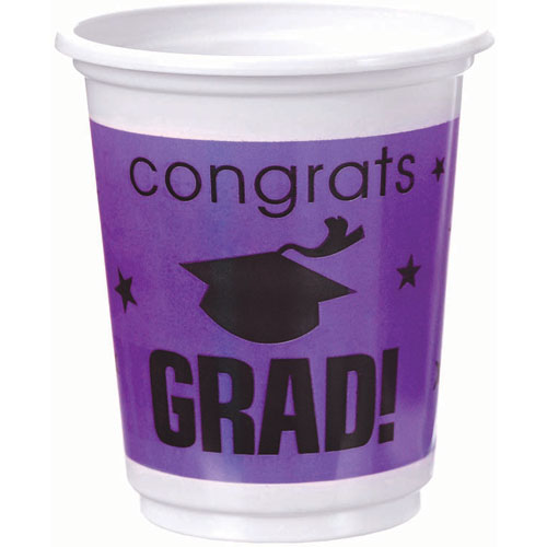 Congrats Grad Purple Plastic 12 oz Cups