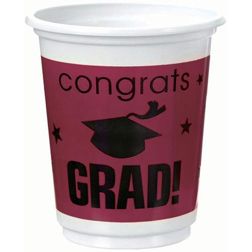 Congrats Grad Berry Plastic 12 oz Cups
