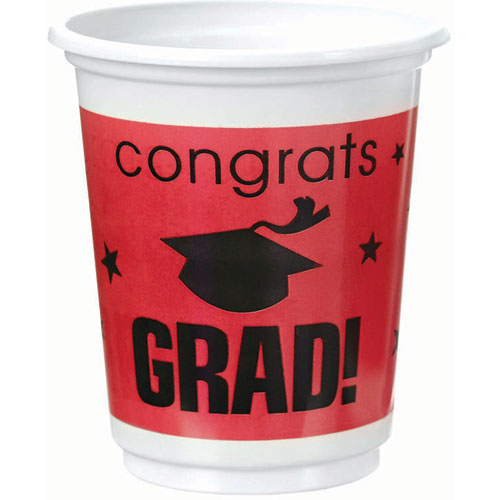 Congrats Grad Red Plastic 12 oz Cups