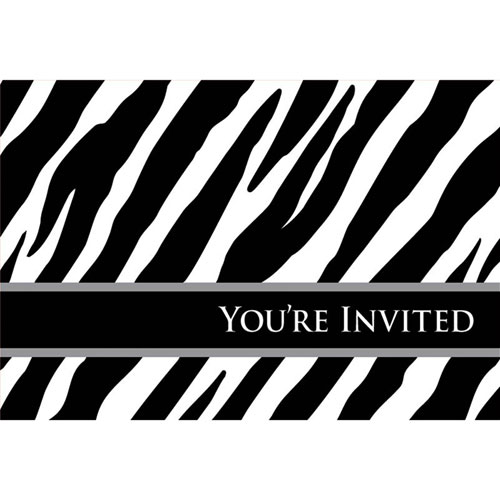 Oh So Fabulous Zebra Invites (8ct)