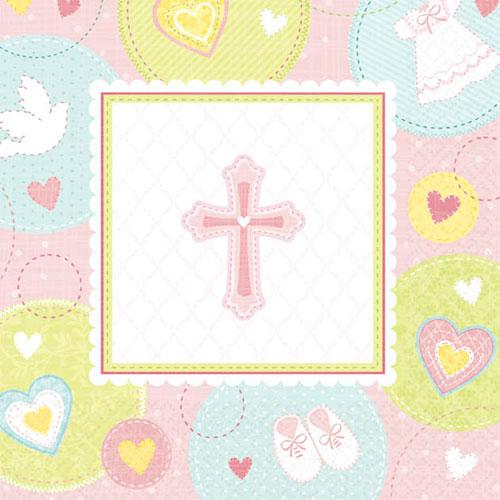 Sweet Christening Pink Beverage Napkins (16ct)