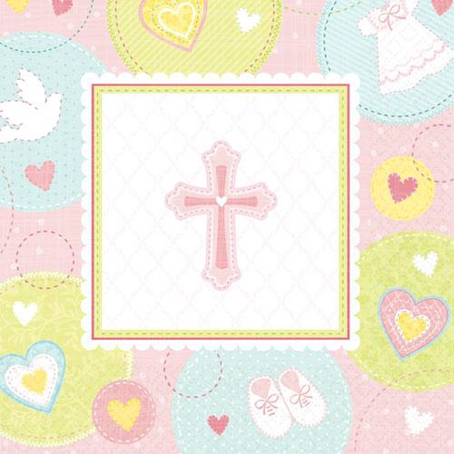 Sweet Christening Pink Luncheon Napkins (16ct)