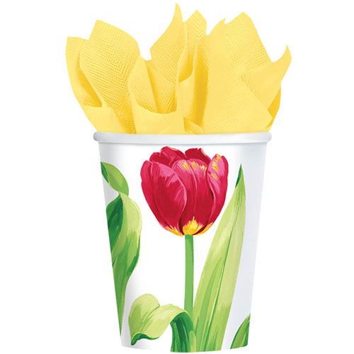 Bright Tulips 9oz Paper Cups (8ct)