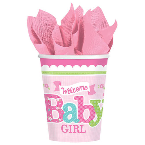 Welcome Little One Girl 9oz Cups (8ct)