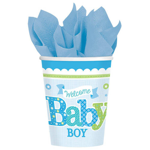 Welcome Little One Boy 9oz Cups (8ct)