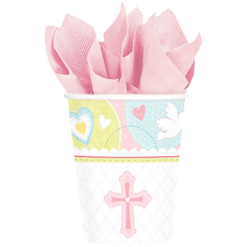 Sweet Christening Pink 9oz Paper Cups (8ct)