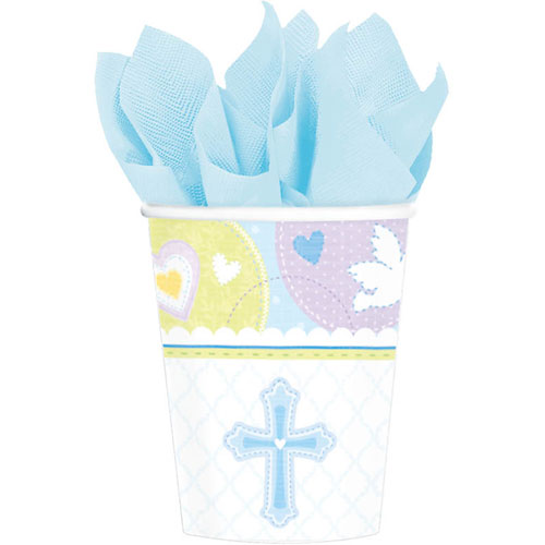 Sweet Christening Blue 9oz Paper Cups (8ct)