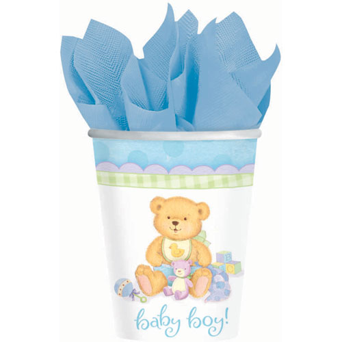 Precious Bear Blue 9oz Paper Cups (8ct)