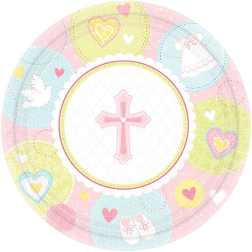 Sweet Christening Pink Banquet Plates (8ct)