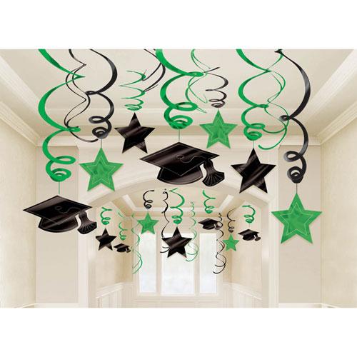 Green Graduation Hanging Swirl Decoration Mega Value Pack
