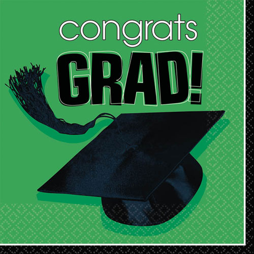 Congrats Grad Green Beverage Napkins (36ct)