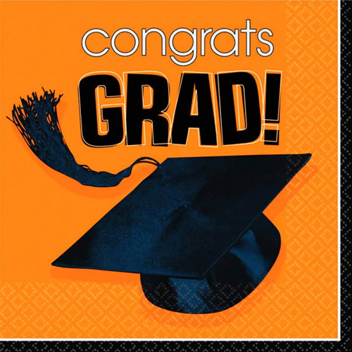 Congrats Grad Orange Beverage Napkins (36ct)