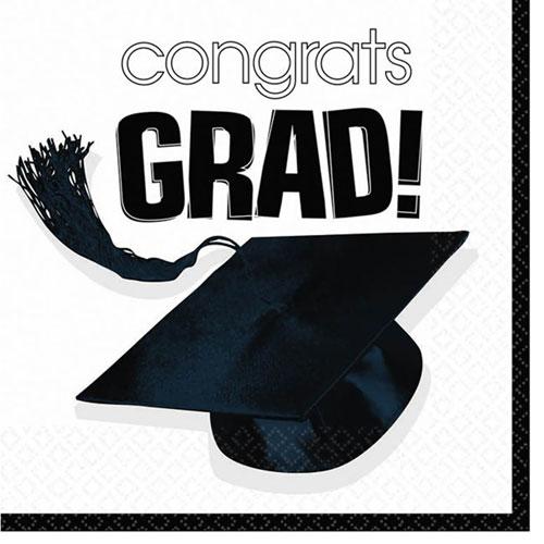 Congrats Grad White Beverage Napkins (36ct)