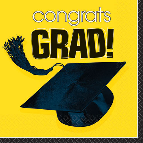 Congrats Grad Yellow Beverage Napkins (36ct)