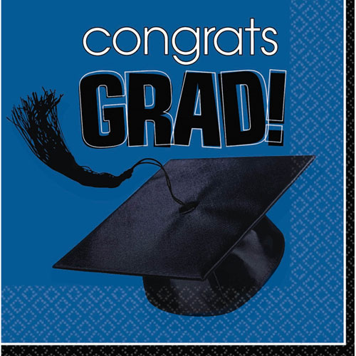 Congrats Grad Blue Beverage Napkins (36ct)