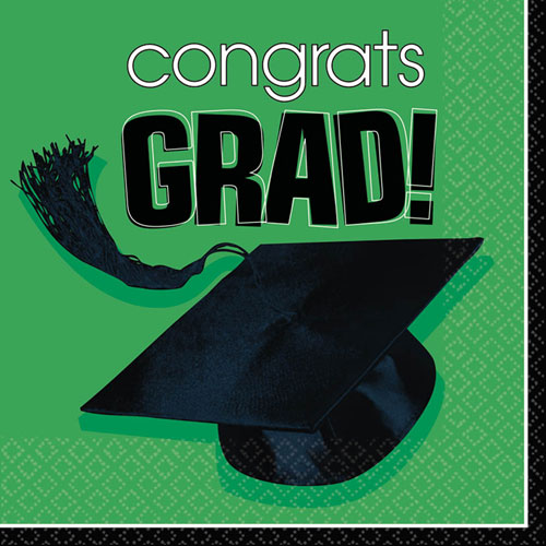 Congrats Grad Green Luncheon Napkins (36ct)