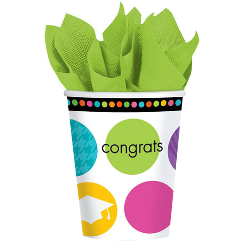 Colorful Commencement 9oz Paper Cups (18ct)