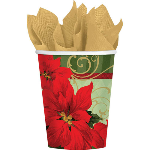 Vintage Poinsettia 9oz Paper Cups (18ct)