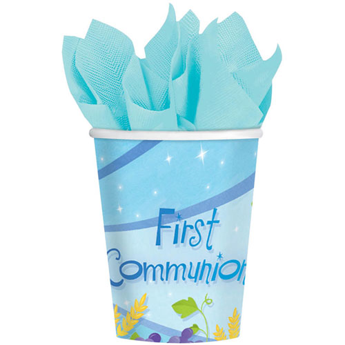 First Communion Blue 9oz Paper Cups (18ct)