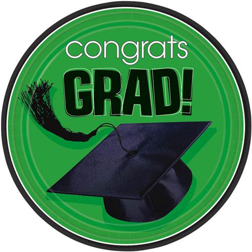Congrats Grad Green Dessert Plates (18ct)