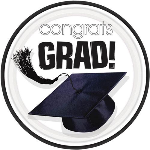 Congrats Grad White Dessert Plates (18ct)