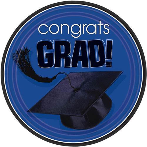 Congrats Grad Blue Dessert Plates (18ct)