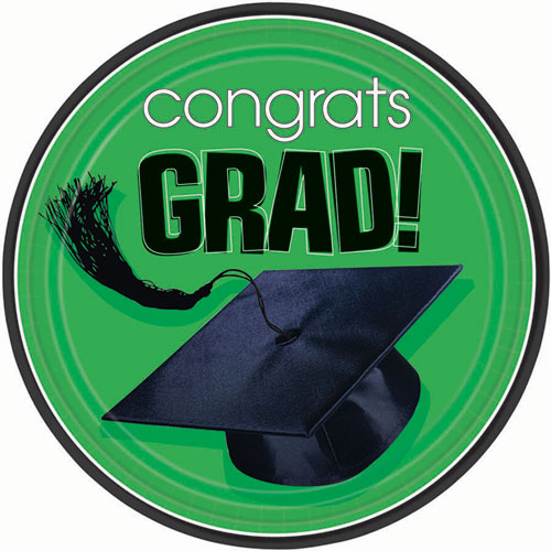 Green Congrats Grad Dinner Plates (18ct)