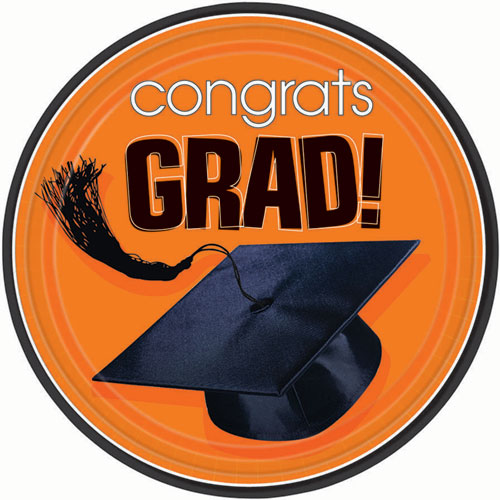 Orange Congrats Grad Dinner Plates (18ct)