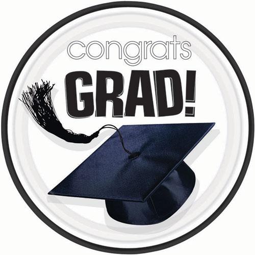 White Congrats Grad Dinner Plates (18ct)