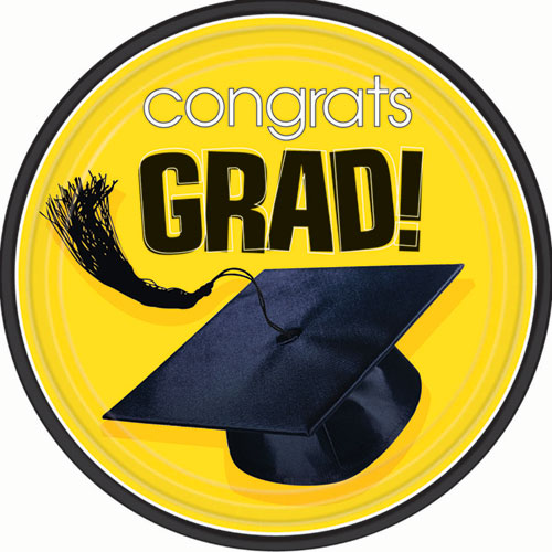 Yellow Congrats Grad Dinner Plates (18ct)